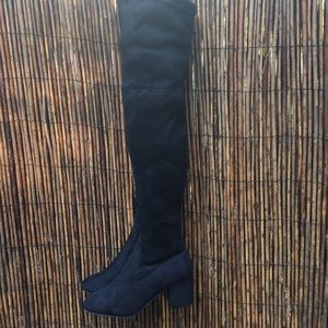 New Med Heel Black Faux Suede Thigh High Boots!